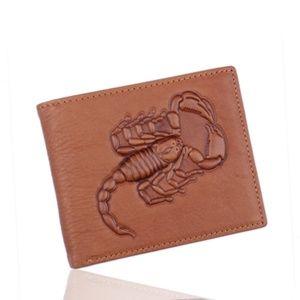 Scorpion Engraved Leather Bifold Men Wallet